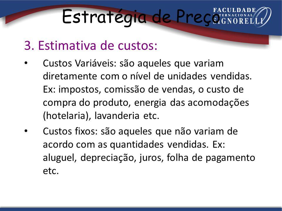 Estratégia de Preço 3. Estimativa de custos: