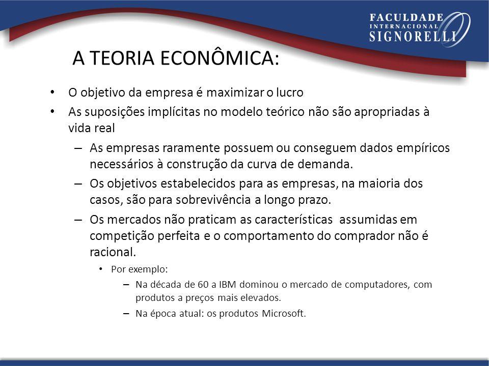 A TEORIA ECONÔMICA: O objetivo da empresa é maximizar o lucro