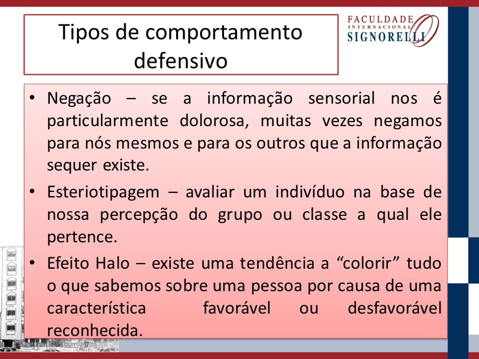 Tipos de comportamento defensivo