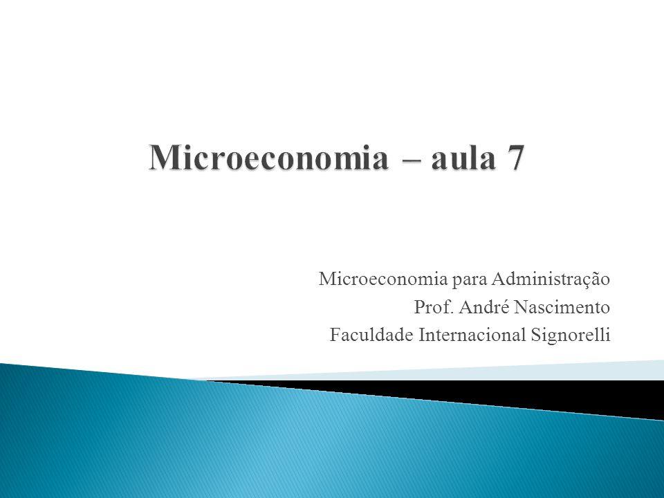 Microeconomia – aula 7 Microeconomia para Administração