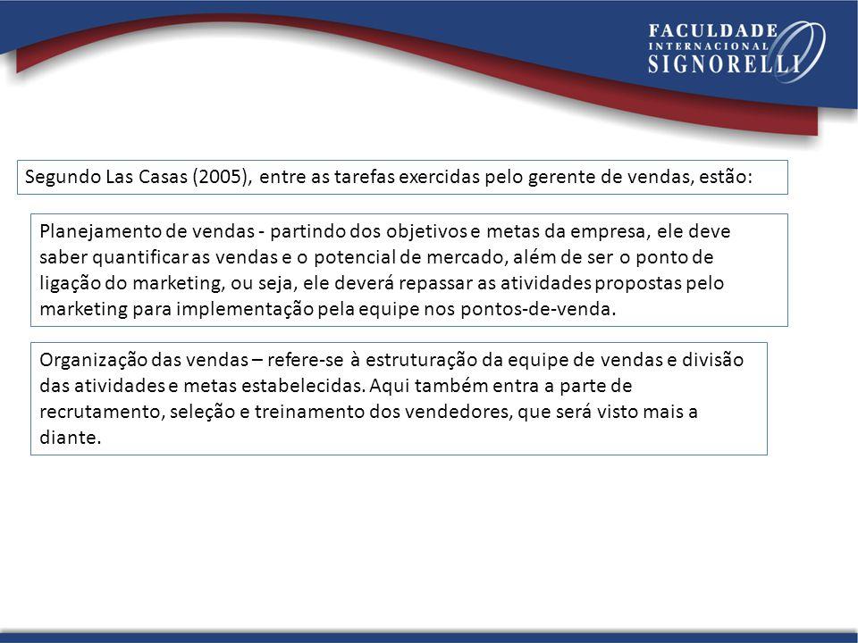 Segundo Las Casas (2005), entre as tarefas exercidas pelo gerente de vendas, estão:
