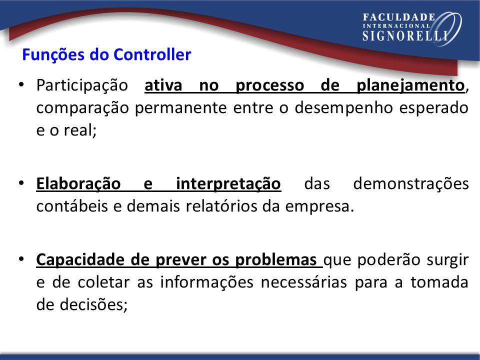 Funções do Controller Participação ativa no processo de planejamento, comparação permanente entre o desempenho esperado e o real;