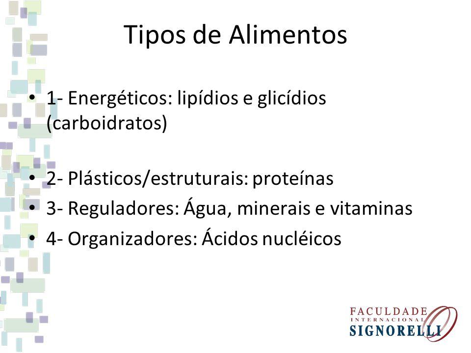 Tipos de Alimentos 1- Energéticos: lipídios e glicídios (carboidratos)