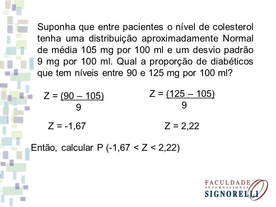 Suponha que entre pacientes o nível de colesterol tenha uma distribuição aproximadamente Normal de média 105 mg por 100 ml e um desvio padrão 9 mg por 100 ml. Qual a proporção de diabéticos que tem níveis entre 90 e 125 mg por 100 ml
