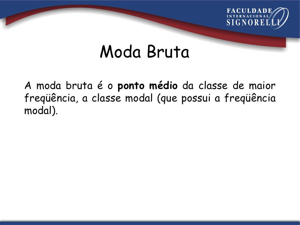 Moda Bruta A moda bruta é o ponto médio da classe de maior freqüência, a classe modal (que possui a freqüência modal).