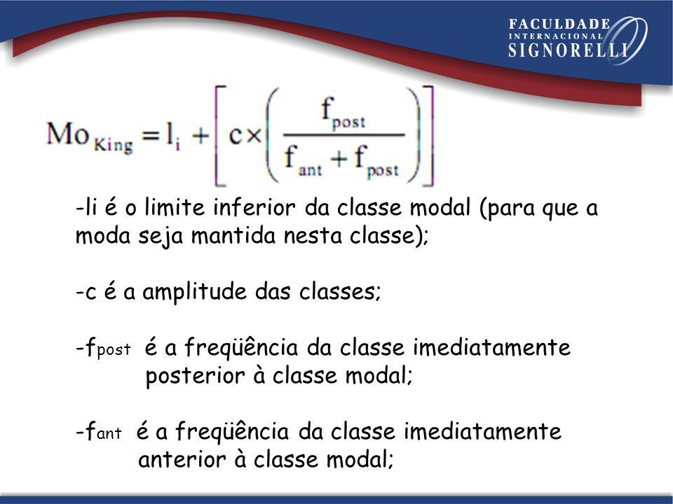 li é o limite inferior da classe modal (para que a moda seja mantida nesta classe);
