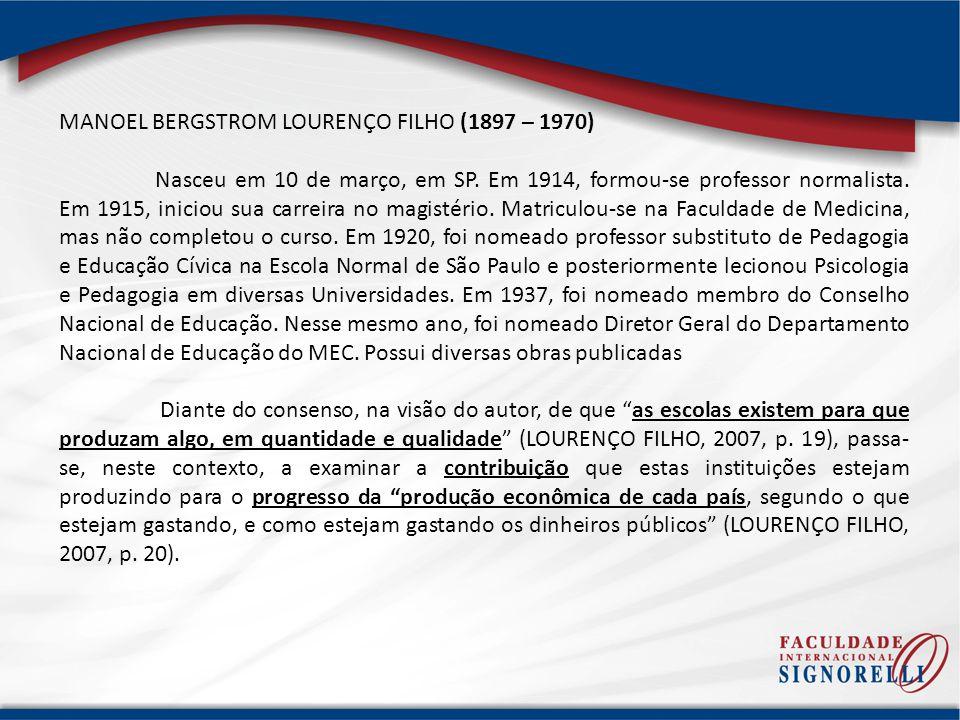 MANOEL BERGSTROM LOURENÇO FILHO (1897 – 1970)