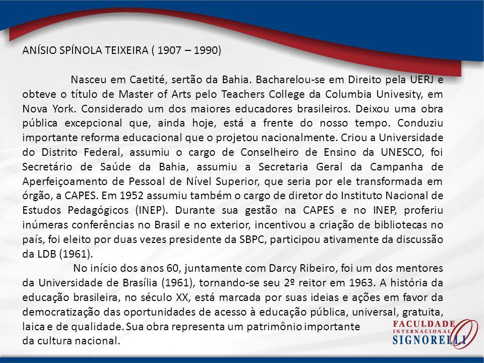ANÍSIO SPÍNOLA TEIXEIRA ( 1907 – 1990)