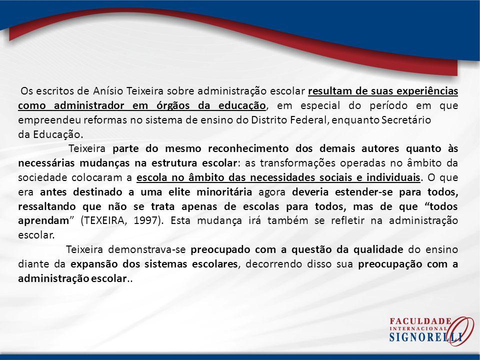 Os escritos de Anísio Teixeira sobre administração escolar resultam de suas experiências como administrador em órgãos da educação, em especial do período em que empreendeu reformas no sistema de ensino do Distrito Federal, enquanto Secretário