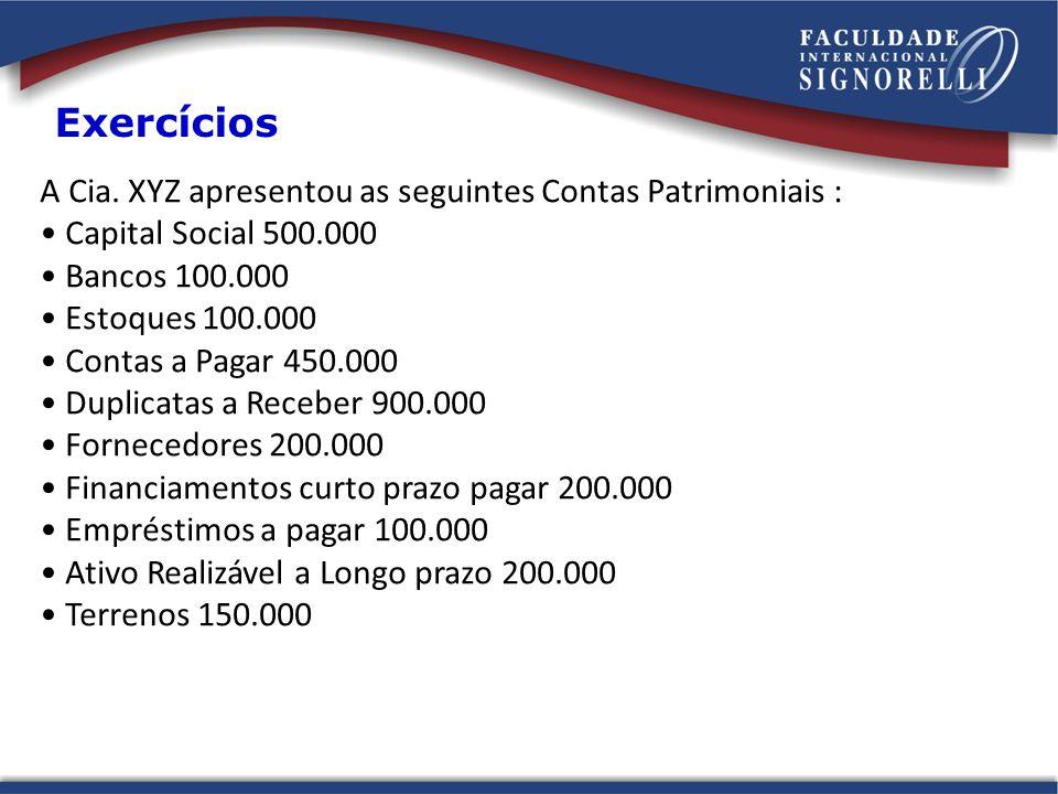 Exercícios A Cia. XYZ apresentou as seguintes Contas Patrimoniais :