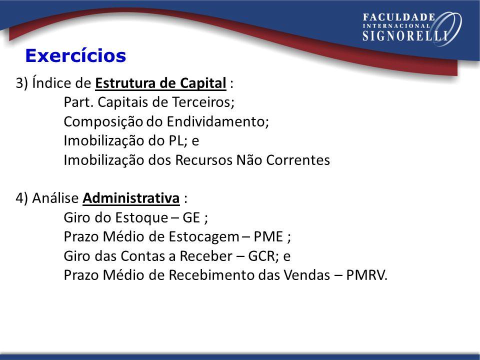 Exercícios 3) Índice de Estrutura de Capital :