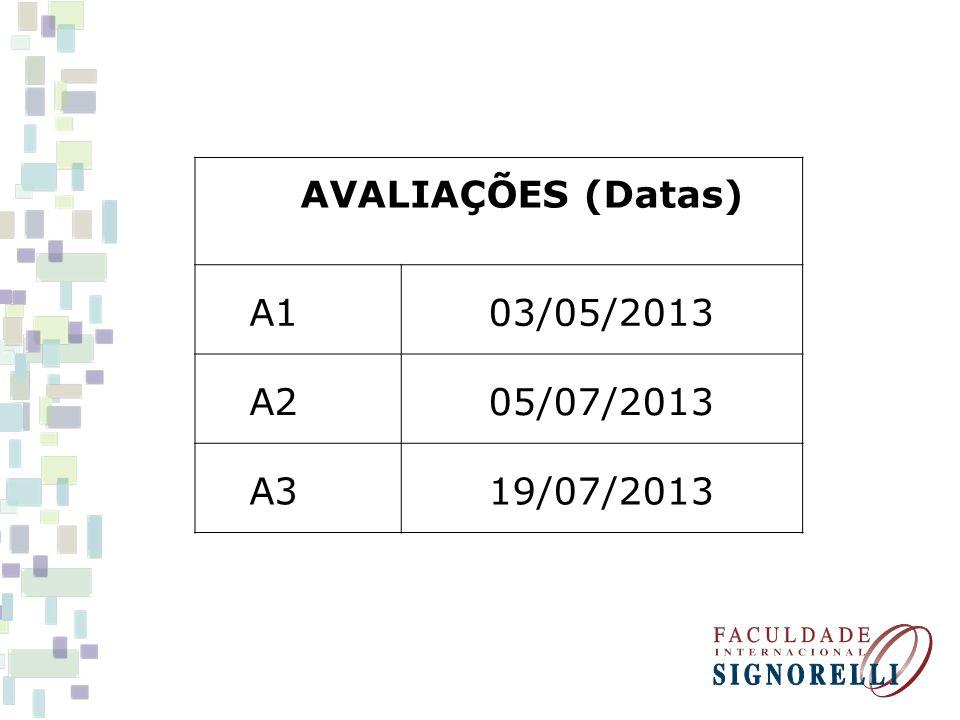 AVALIAÇÕES (Datas) A1 03/05/2013 A2 05/07/2013 A3 19/07/2013