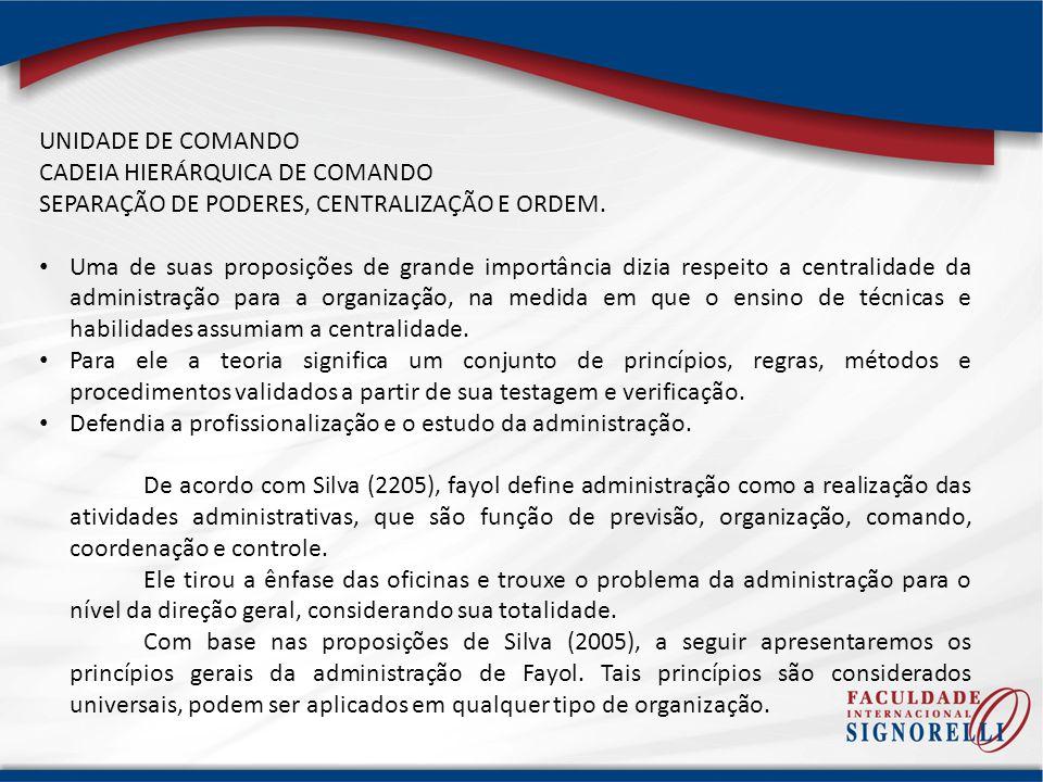 UNIDADE DE COMANDO CADEIA HIERÁRQUICA DE COMANDO. SEPARAÇÃO DE PODERES, CENTRALIZAÇÃO E ORDEM.