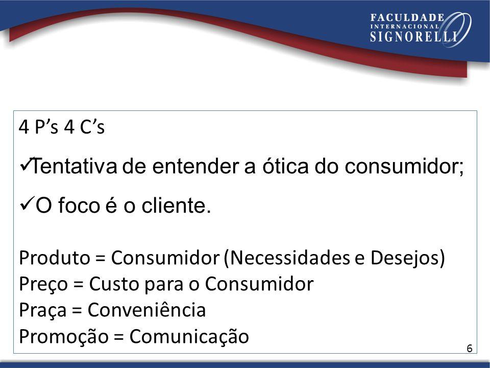 4 P's 4 C's Tentativa de entender a ótica do consumidor; O foco é o cliente. Produto = Consumidor (Necessidades e Desejos)