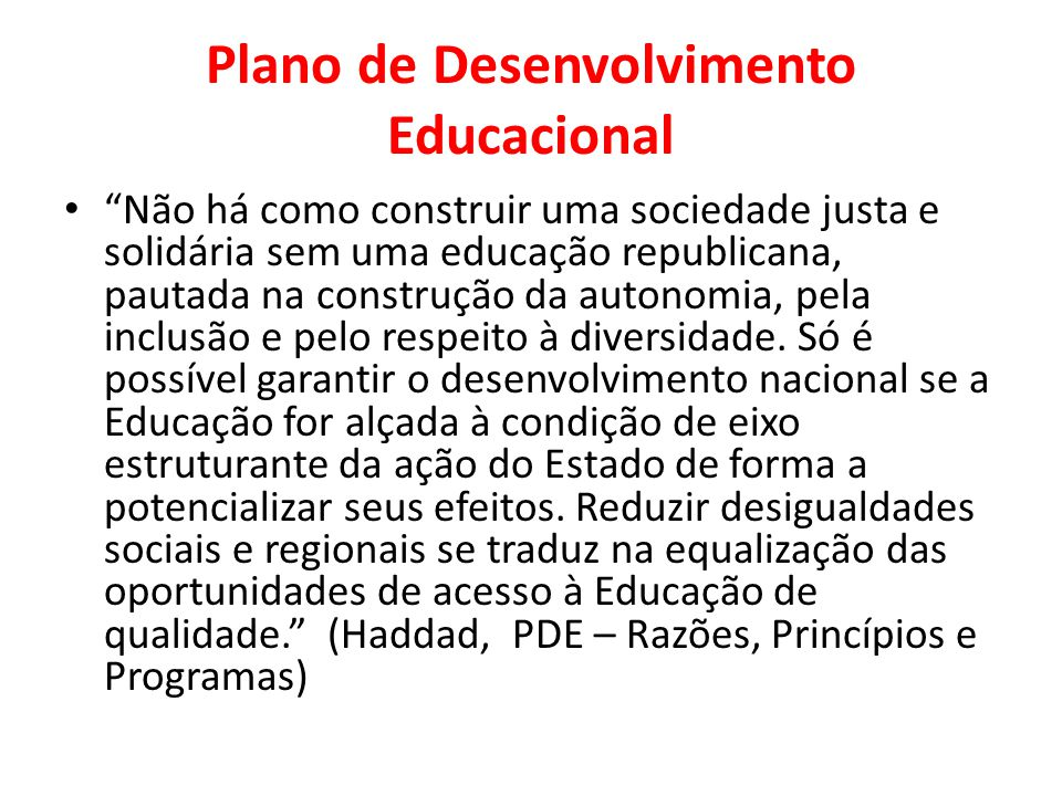 Plano de Desenvolvimento Educacional