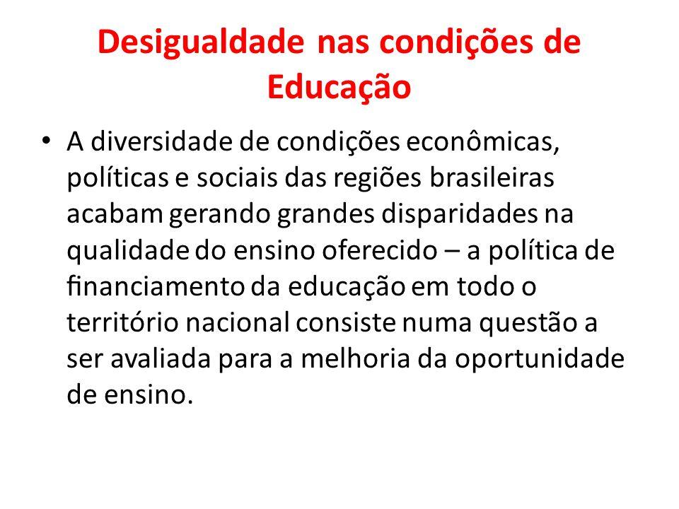 Desigualdade nas condições de Educação