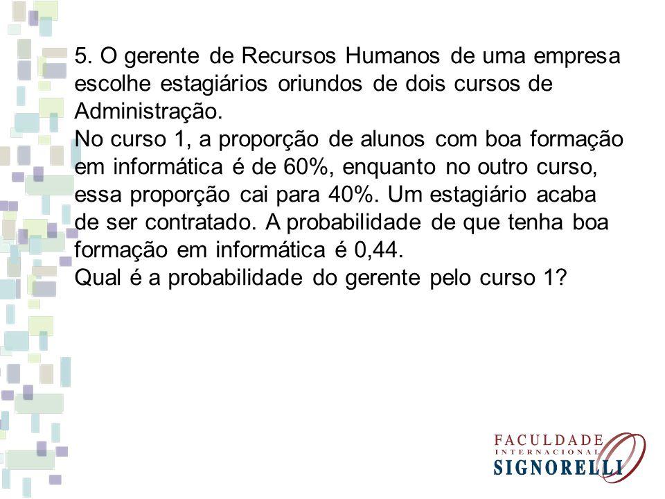 5. O gerente de Recursos Humanos de uma empresa