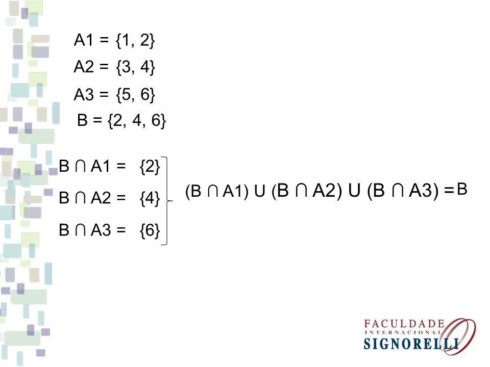 A1 = {1, 2} A2 = {3, 4} A3 = {5, 6} B = {2, 4, 6} B ∩ A1 = {2} (B ∩ A1) U (B ∩ A2) U (B ∩ A3) =