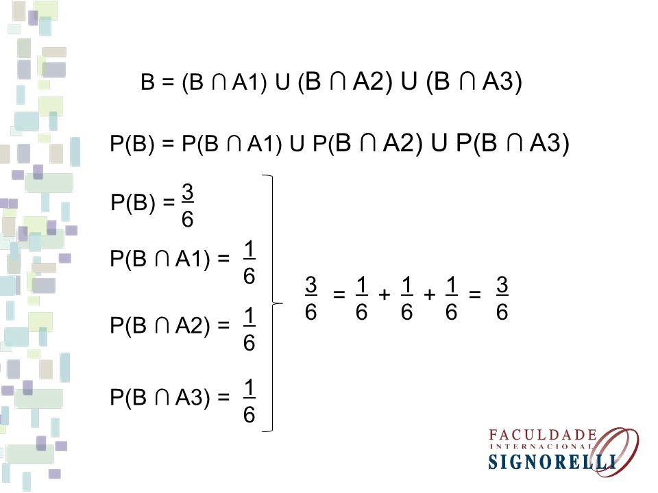 B = (B ∩ A1) U (B ∩ A2) U (B ∩ A3) P(B) = P(B ∩ A1) U P(B ∩ A2) U P(B ∩ A3) 3. 6. P(B) = 1. 6.