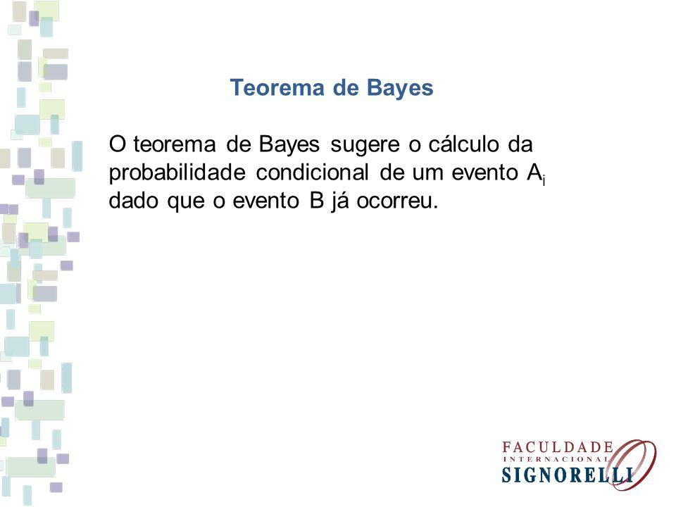 Teorema de Bayes O teorema de Bayes sugere o cálculo da. probabilidade condicional de um evento Ai.