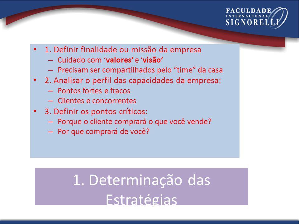 1. Determinação das Estratégias