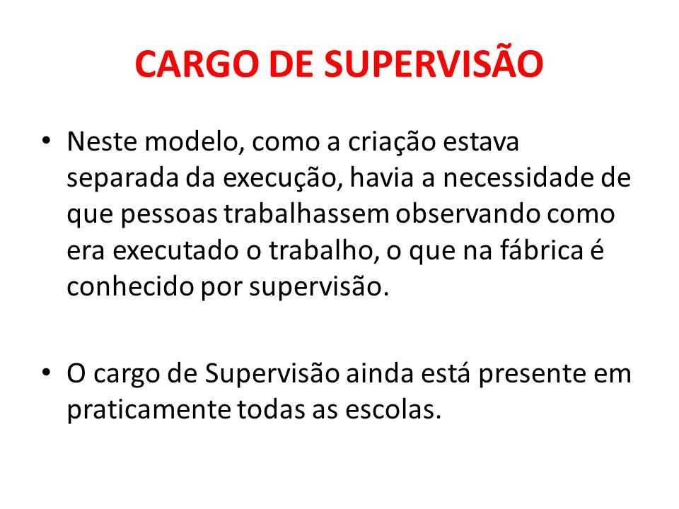 CARGO DE SUPERVISÃO