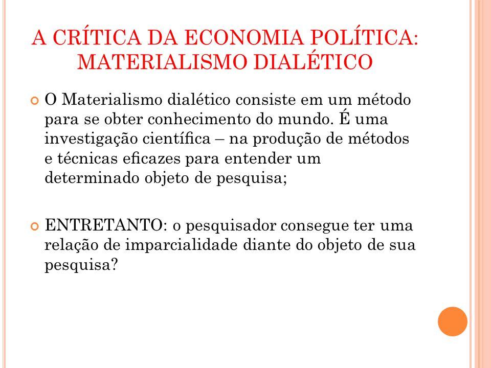 A CRÍTICA DA ECONOMIA POLÍTICA: MATERIALISMO DIALÉTICO