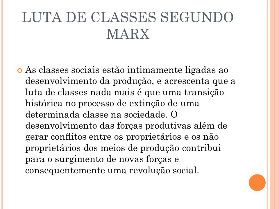LUTA DE CLASSES SEGUNDO MARX