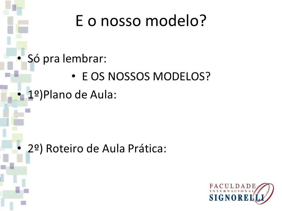 E o nosso modelo Só pra lembrar: E OS NOSSOS MODELOS
