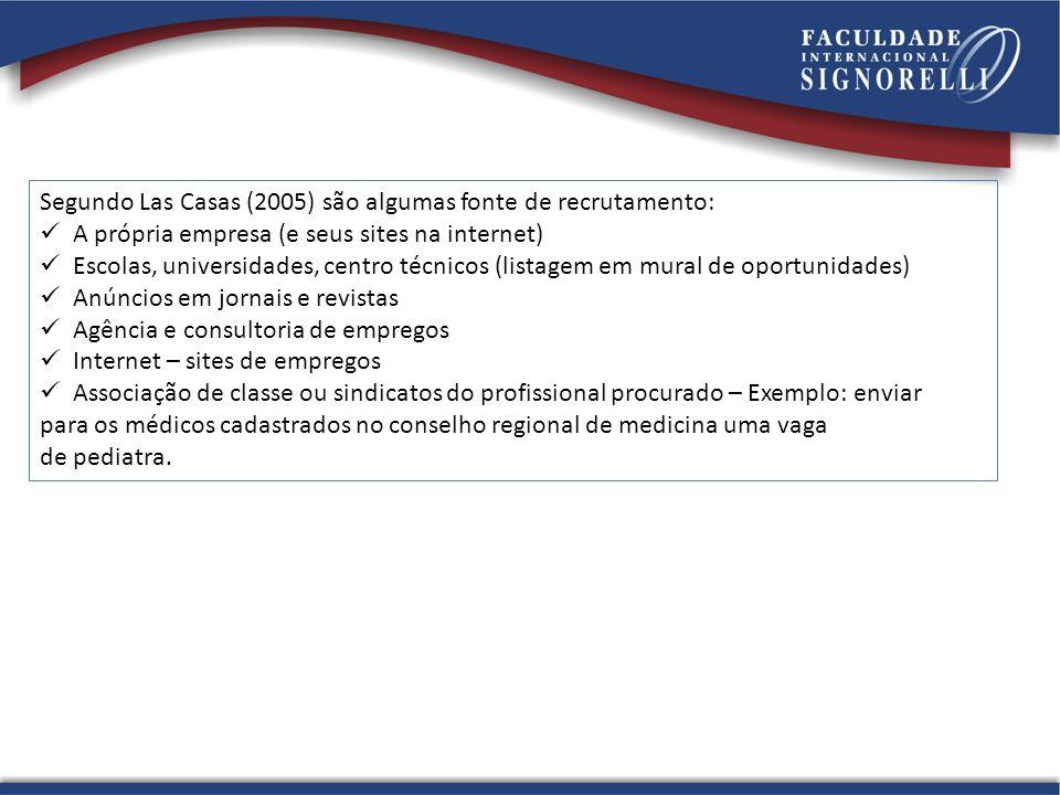 Segundo Las Casas (2005) são algumas fonte de recrutamento:
