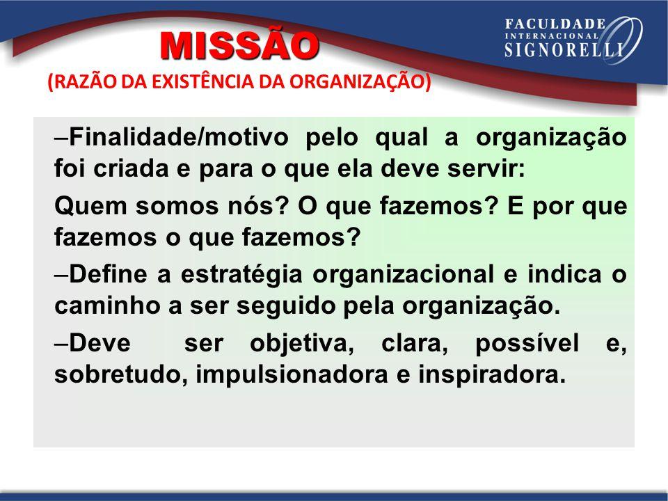 MISSÃO (RAZÃO DA EXISTÊNCIA DA ORGANIZAÇÃO)