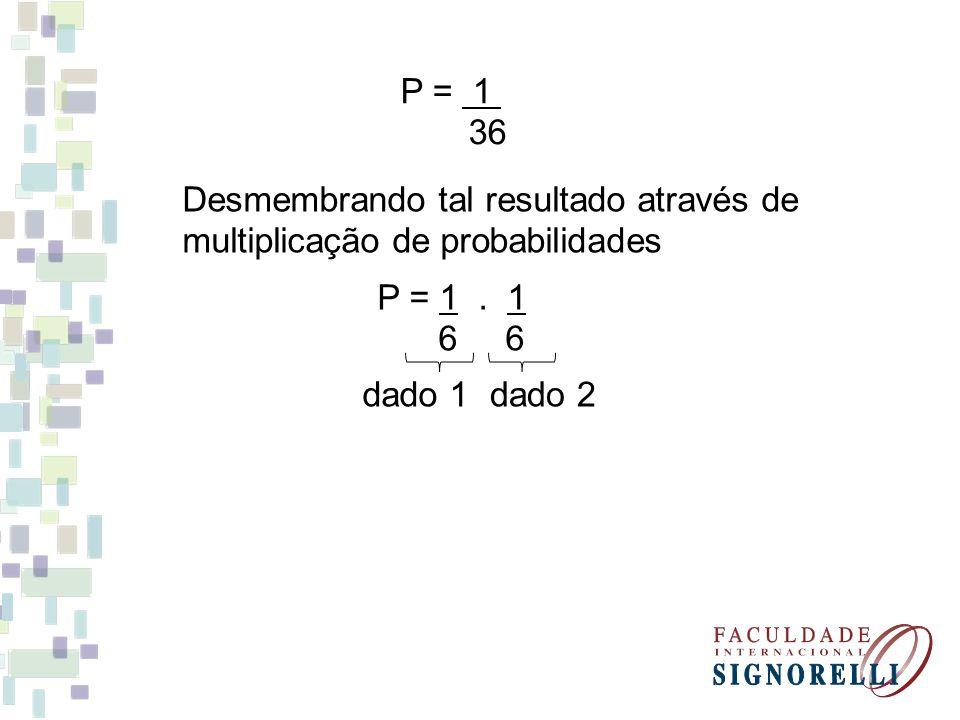 P = 1 36. Desmembrando tal resultado através de multiplicação de probabilidades. P = 1 . 1. 6 6.