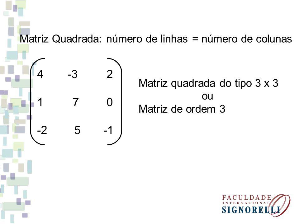 Matriz Quadrada: número de linhas = número de colunas