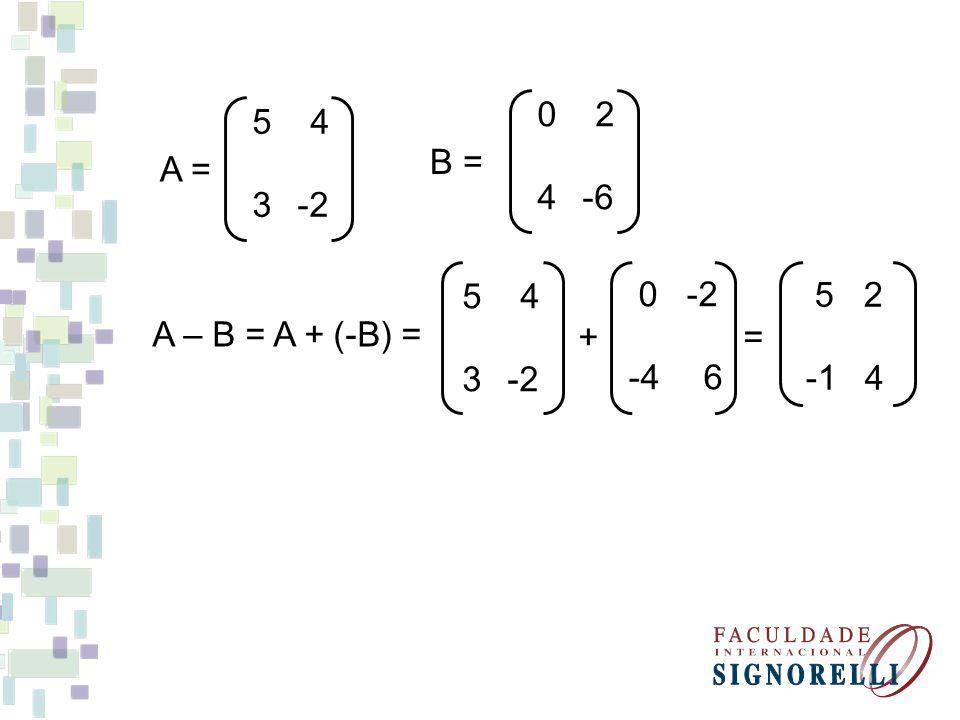 0 2 4 -6. B = 5 4. 3 -2. A = A – B = A + (-B) = 5 4. + = 3 -2.