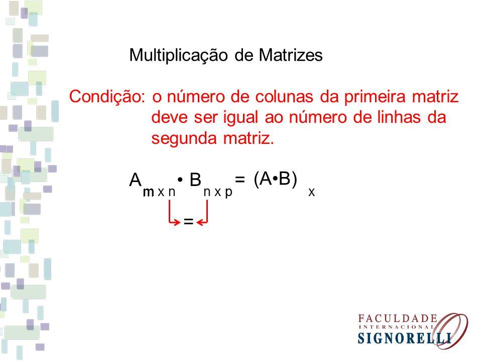 A B • = (A•B) = Multiplicação de Matrizes