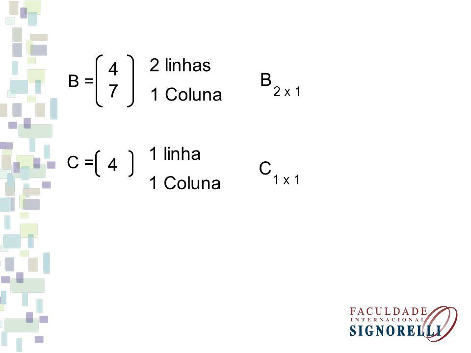 2 linhas 7 B = B 1 Coluna 2 x 1 1 linha C = C 1 Coluna 1 x 1