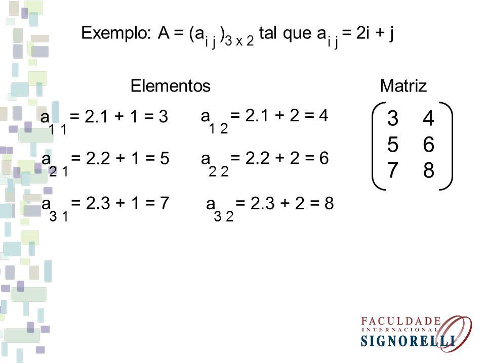 3 4 5 6 7 8 Exemplo: A = (a ) tal que a = 2i + j Elementos Matriz