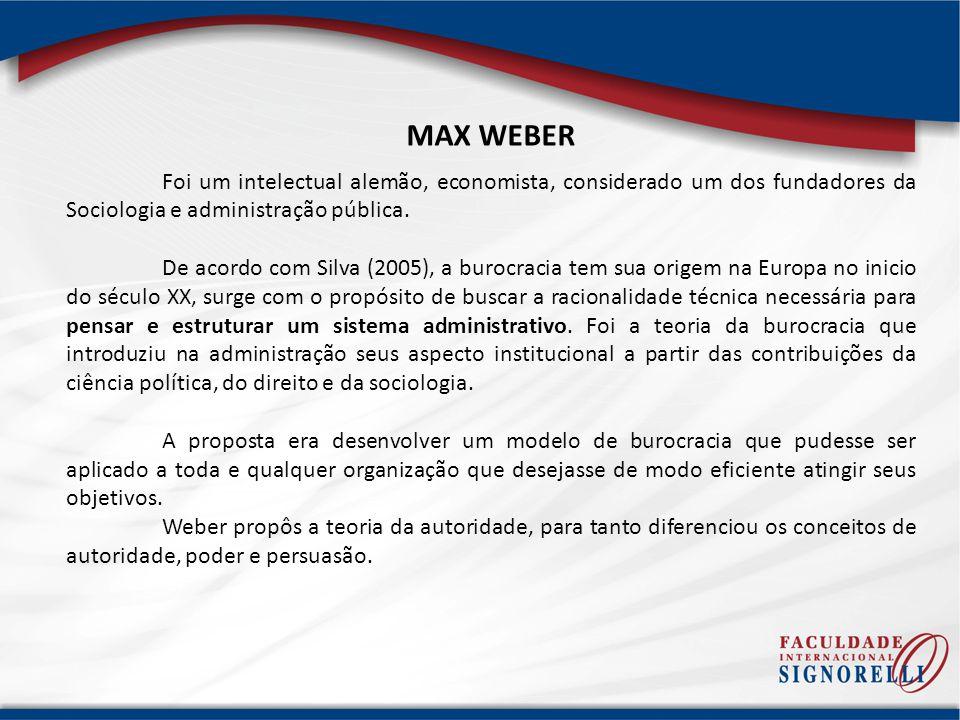 MAX WEBER Foi um intelectual alemão, economista, considerado um dos fundadores da Sociologia e administração pública.