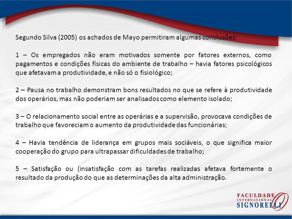 Segundo Silva (2005) os achados de Mayo permitiram algumas conclusões:
