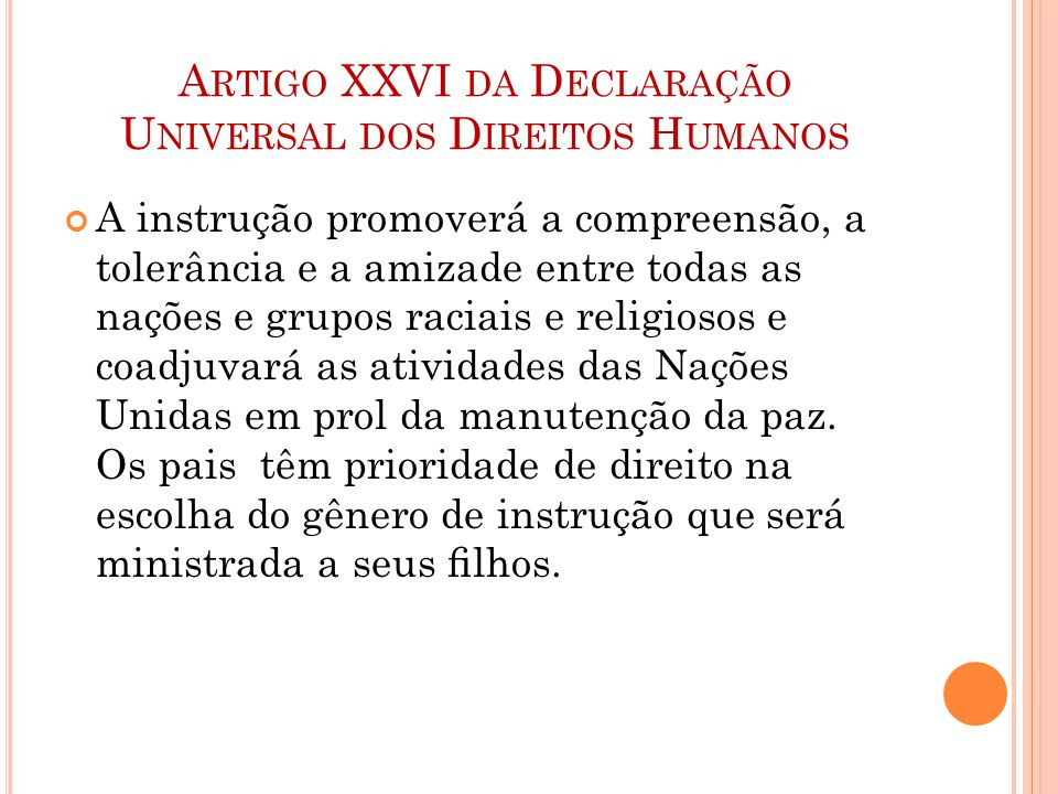 Artigo XXVI da Declaração Universal dos Direitos Humanos