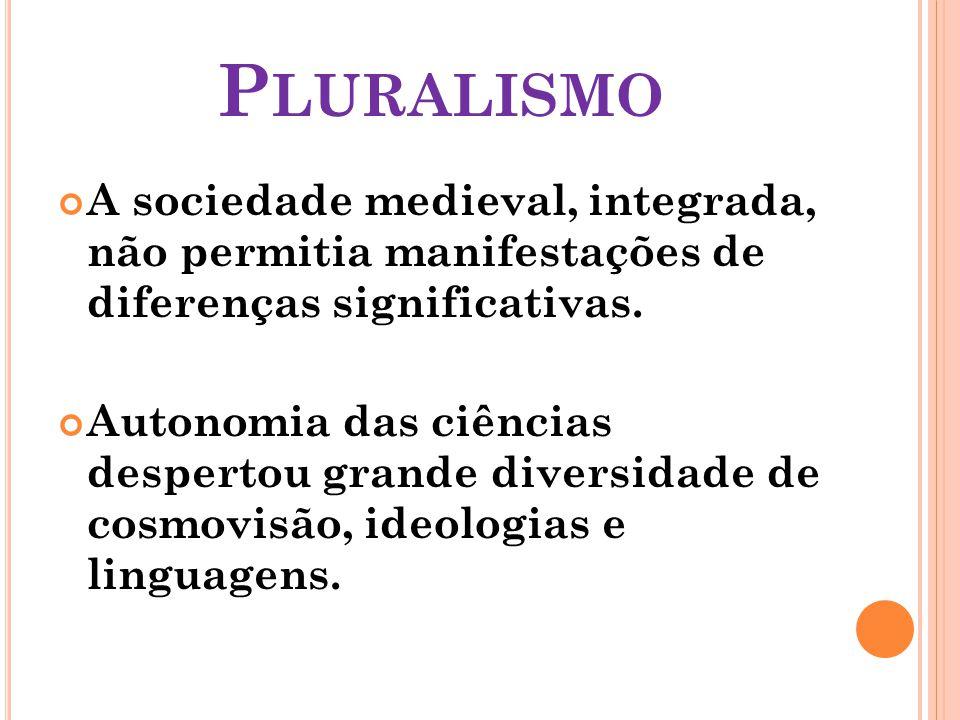 Pluralismo A sociedade medieval, integrada, não permitia manifestações de diferenças significativas.
