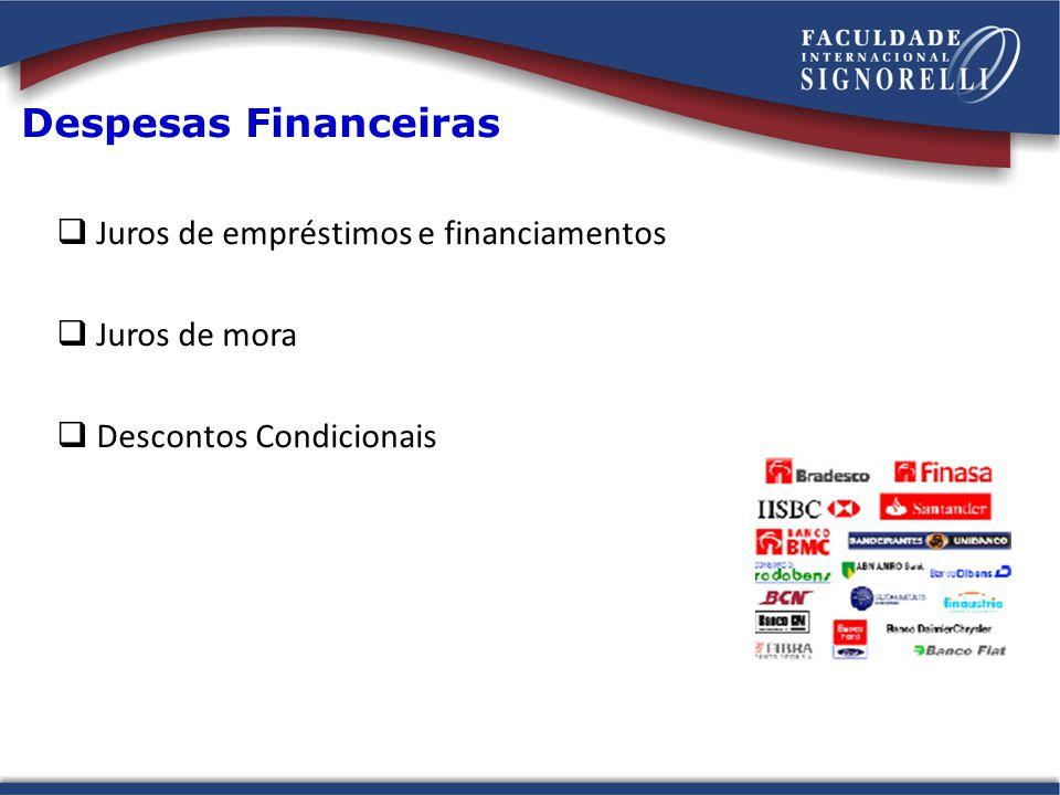 Despesas Financeiras Juros de empréstimos e financiamentos