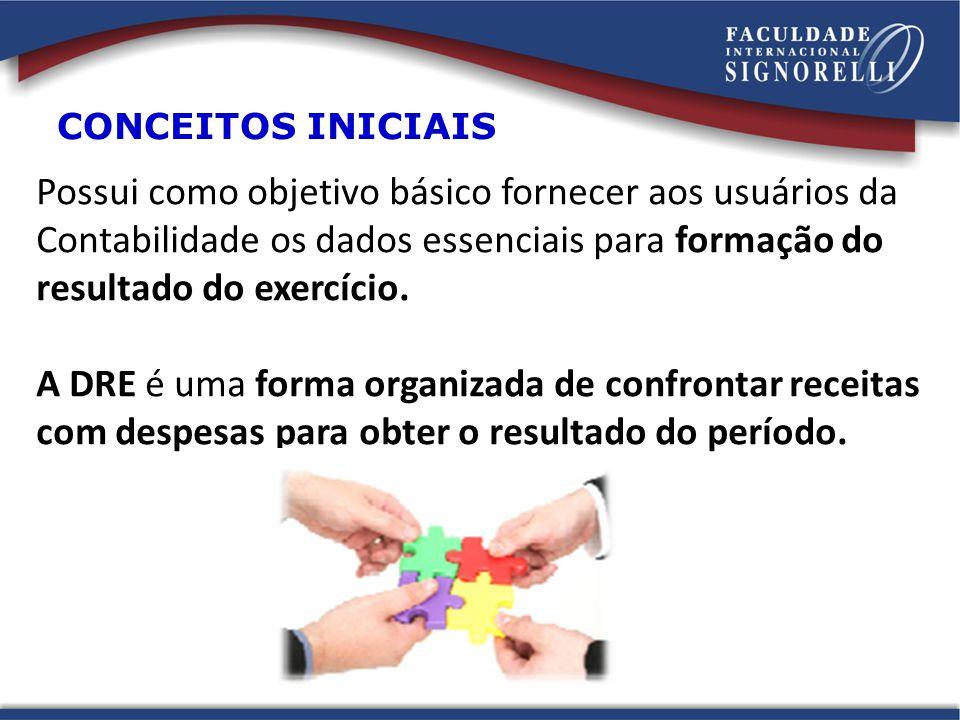 CONCEITOS INICIAIS Possui como objetivo básico fornecer aos usuários da Contabilidade os dados essenciais para formação do resultado do exercício.