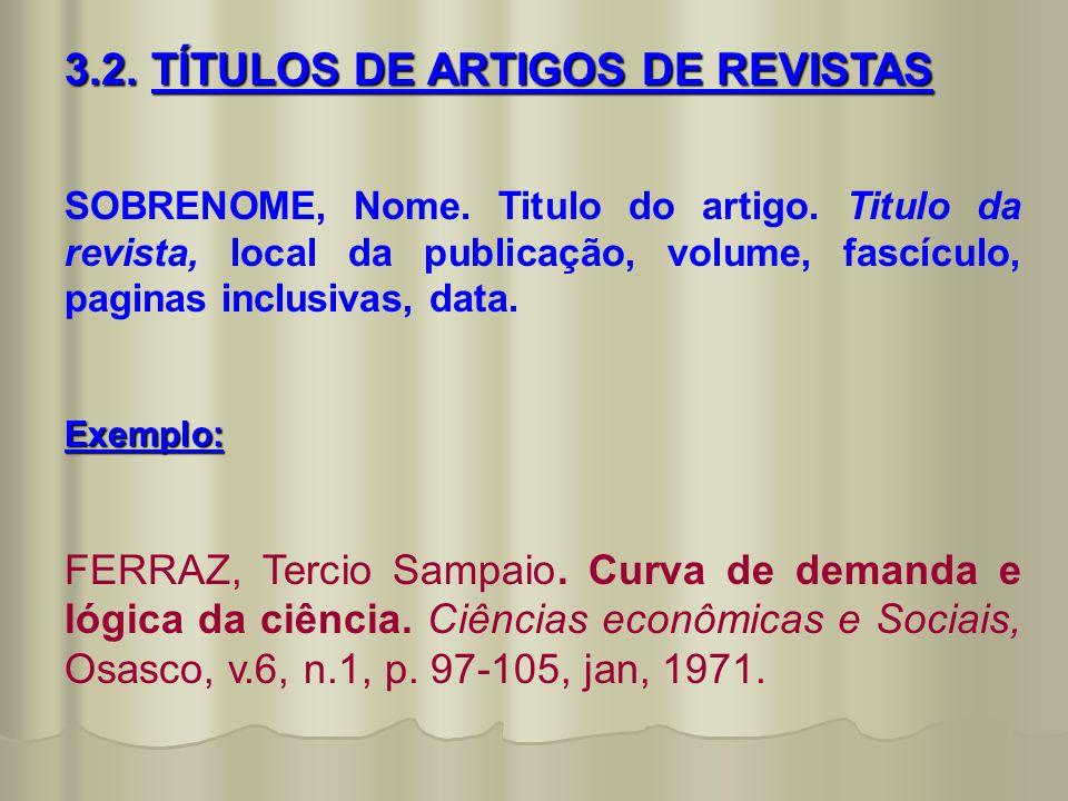 3.2. TÍTULOS DE ARTIGOS DE REVISTAS