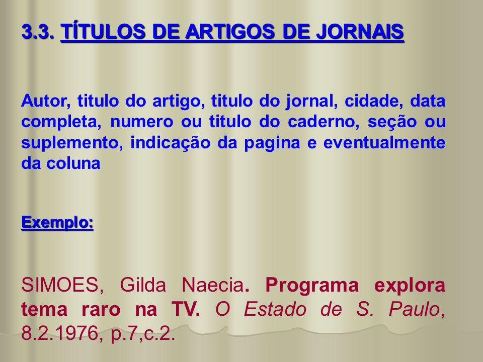 3.3. TÍTULOS DE ARTIGOS DE JORNAIS