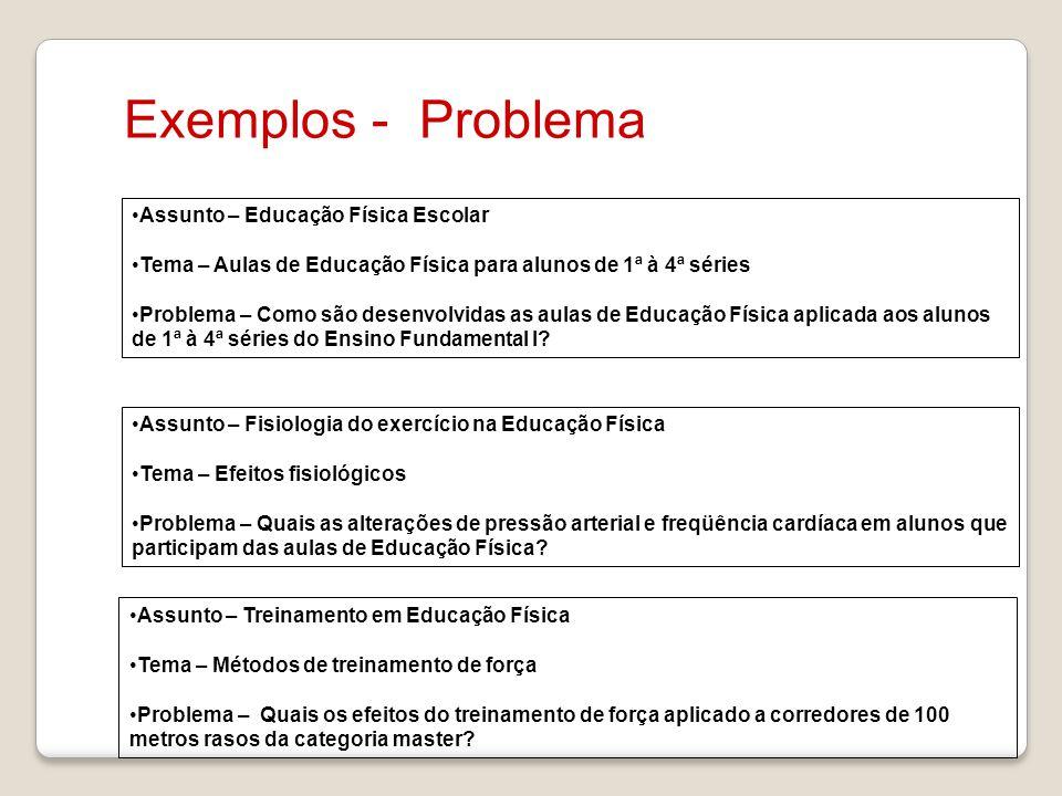 Exemplos - Problema Assunto – Educação Física Escolar