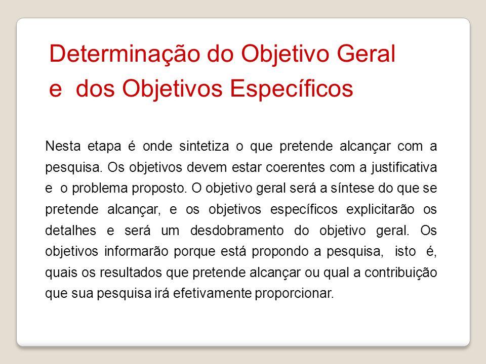 Determinação do Objetivo Geral e dos Objetivos Específicos