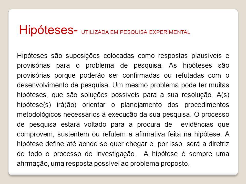 Hipóteses- UTILIZADA EM PESQUISA EXPERIMENTAL