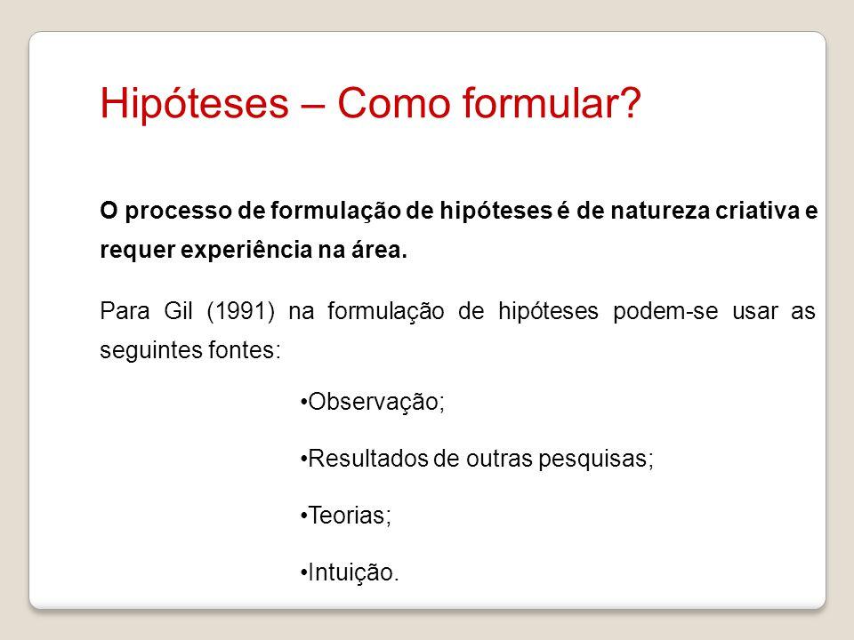 Hipóteses – Como formular
