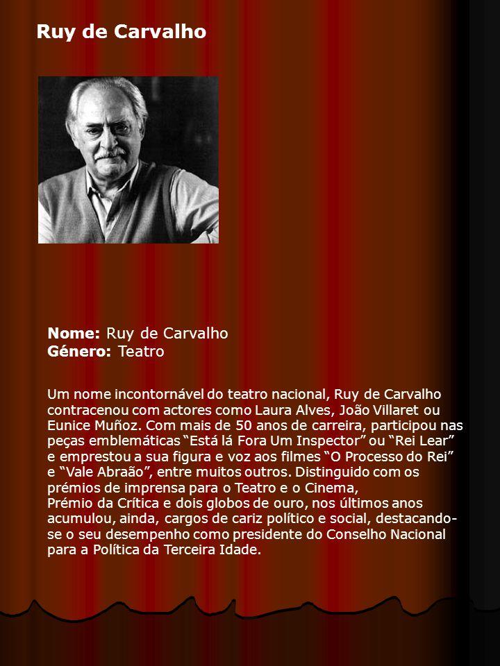 Ruy de Carvalho Nome: Ruy de Carvalho Género: Teatro